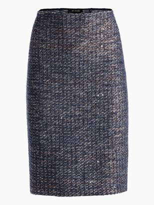 St. John Copper Sequin Tweed Knit Pencil Skirt