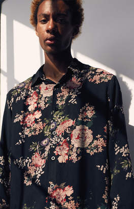 Pacsun Boom Long Sleeve Button Up Camp Shirt