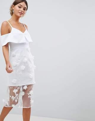 Asos DESIGN bardot 3d flower sheer midi pencil dress