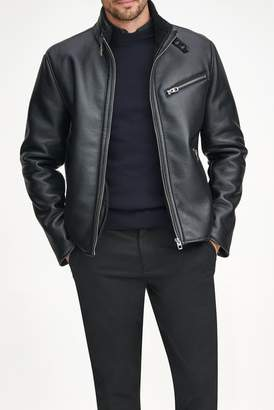 Andrew Marc Flint Faux Leather Faux Shearling Lined Moto Jacket
