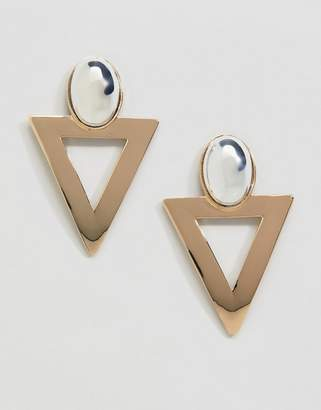 Monki triangle earrings in gold and silver