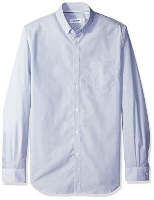 Lacoste Men's Long Sleeve REG FIT Mini Stripe POPLIN Button Down, 153⁄4