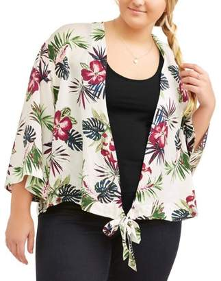 MISS LILI Junior's Plus Tropical Print Wrap Kimono