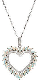 Diamonique and Synthetic Opal Heart Pendant,Sterling