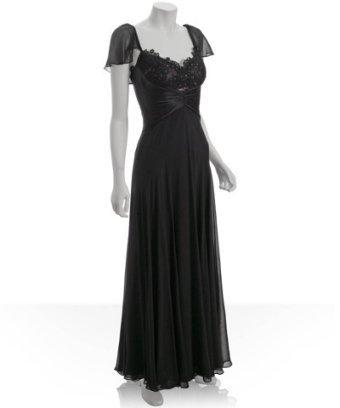 Badgley Mischka Platinum Label black lace georgette flutter sleeve dress