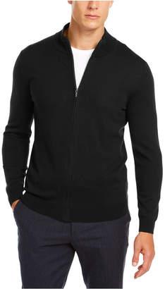 Tasso Elba Men Solid Full-Zip Mock-Neck Merino Sweater