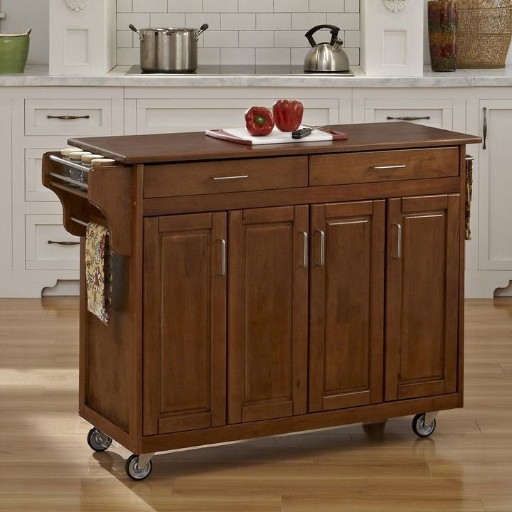 Home styles Oak-Top Two Drawer Kitchen Cart