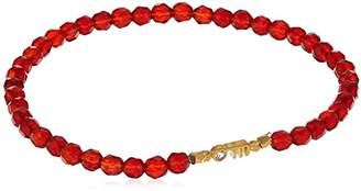 Satya Jewelry Words of Wisdom Carnelian White-Topaz Gold Plate Om Stretch Bracelet