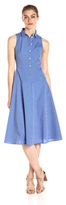 Armani Exchange A|X Women's Collared Button up Sleeveless Midi Dress