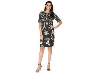 Adrianna Papell Sheath Dress in Floral Printed Single Crepe