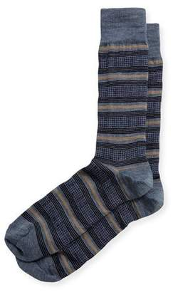Neiman Marcus Houndstooth-Striped Wool Socks