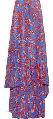 Diane von Furstenberg Layered Printed Silk Crepe De Chine Maxi Skirt