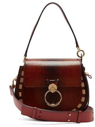 Chloe - Tess Medium Leather Cross Body Bag - Womens - Dark Brown