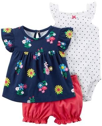 Carter's Baby Girl Floral Tee, Polka-Dot Bodysuit & Bubble Shorts Set