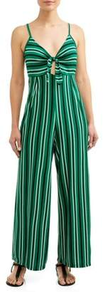 No Comment Juniors' Striped Knotted Front Cropped Wide Leg Jumpsuit