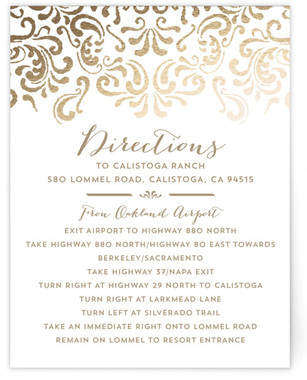 Black Tie Wedding Foil-Pressed Direction Cards
