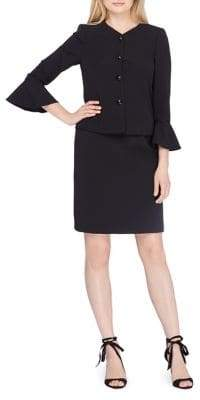 Tahari Arthur S. Levine Jewel Neck Bell Sleeve Jacket and Back Vent Skirt Suit $280 thestylecure.com