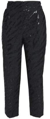Brunello Cucinelli Cropped Sequin-Embellished Wool And Linen-Blend Tapered Pants
