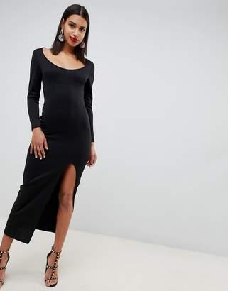 Asos Design DESIGN long sleeve scoop neck maxi dress with thigh split