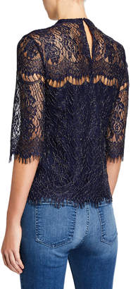 Laundry by Shelli Segal Metallic Lace Short-Sleeve Blouse