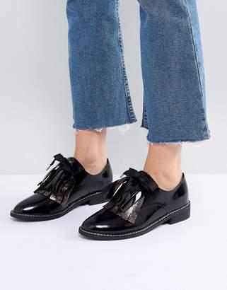 Asos Design Monday Leather Flat Shoes