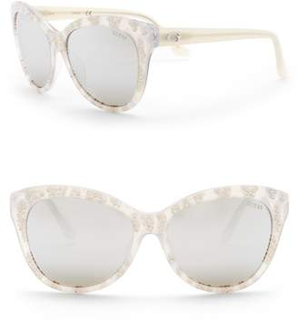 GUESS 56mm Crystal Accented Cat Eye Sunglasses