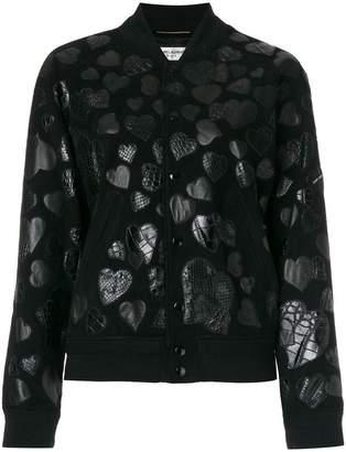 Saint Laurent heart patch bomber jacket