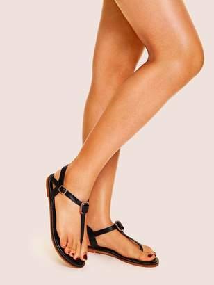 5231b0c81d94 Shein Rhinestone Decor Toe Post Flat Sandals