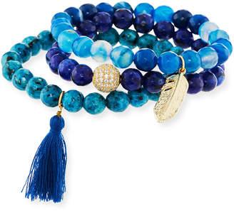 Panacea Blue Stone & Tassel Stretch Bracelets, Set of 3
