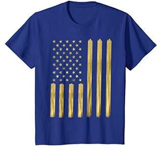 American Flag T Shirt Faux Gold Paint