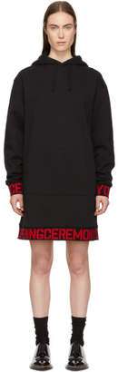 Opening Ceremony Black Elastic Logo Hoodie Dress