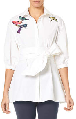Carolina Herrera Button-Down Poplin Tunic Blouse w/ Self-Tie Belt & Bird Embroidery