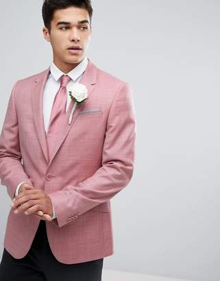 Asos DESIGN WEDDING Skinny Blazer In Pink 100% Wool