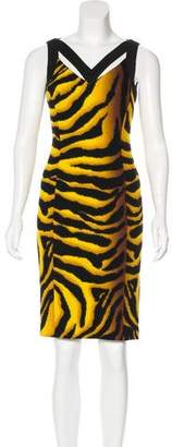 Versace Wool Tiger Print Dress