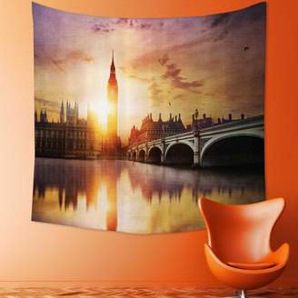 Westminster Nalahomeqq London Decor Collection Big Ben and Bridge at Dusk with Blurry River Reflection Photography Microfiber Fabric Drawing Room Custom Tapestry Sandy Orange Lavende 51 W x 59 L inch