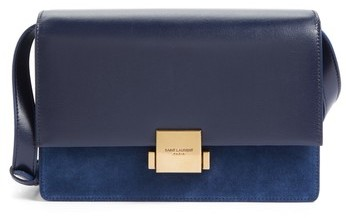 Saint Laurent Medium Bellechasse Suede & Leather Shoulder Bag - Blue