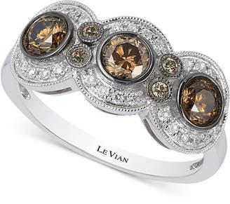 LeVian Le Vian Chocolatier Chocolate Deco Estate Diamond (9/10 ct. t.w.) Ring in 14k White Gold