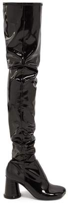 MM6 MAISON MARGIELA Cup Heel Over The Knee Patent Leather Boots - Womens - Black