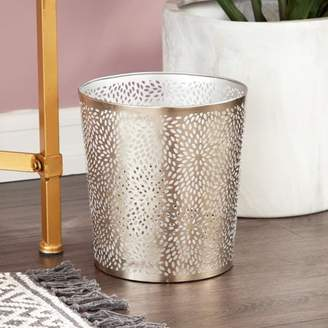 """CosmoLiving by Cosmopolitan CosmoLiving Small, Round, Glam Style Metallic Silver Pierced Metal Waste Basket with Chrysanthemum Pattern 