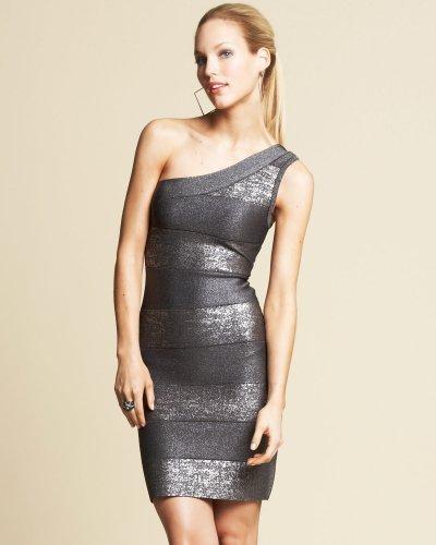 Asymmetric Foil Print Dress
