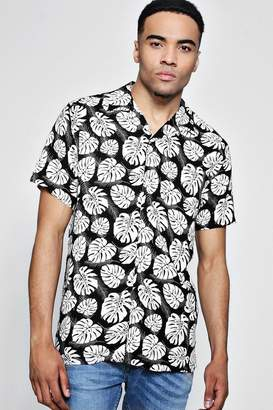 boohoo Black Short Sleeve Tropical Print Shirt