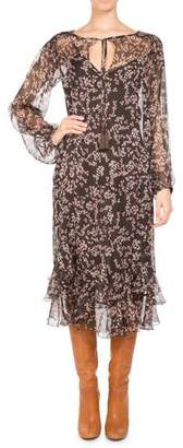 Pascal Millet Floral-Print Chiffon Long-Sleeve Midi Dress, Brown