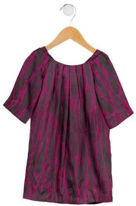 Milly Minis Girls' Satin Printed Dress