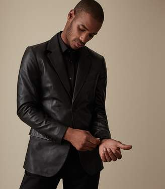 Reiss Our last order date for Christmas has now passed HAUGE LEATHER BLAZER Black