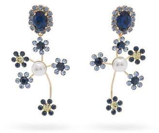 Erdem Crystal And Pearl Embellished Floral Drop Earrings - Womens - Blue