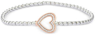 Wrapped Diamond Heart Stretch Bead Bracelet (1/6 ct. t.w.) in 10k Rose Gold and Sterling Silver, Created for Macy's