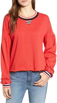 Rebecca Minkoff Stripe Ruffle Sweatshirt
