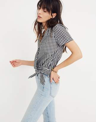 Madewell Short-Sleeve Wrap Top in Gingham Check