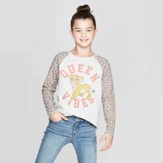 BEIGE The Lion King Girls' The Lion King Nala Queen Vibes Long Sleeve Raglan T-Shirt