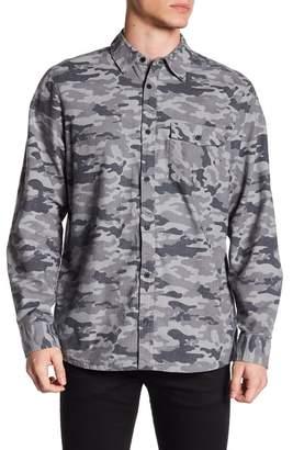 Indigo Star Long Sleeve Camo Print Woven Shirt